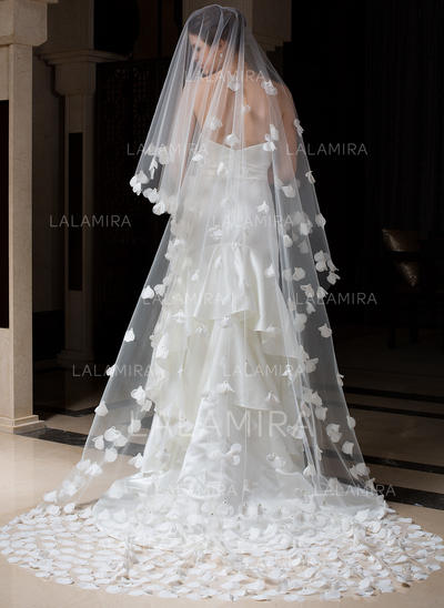 Cathedral Bridal Veils Tulle One-tier Oval/Drop Veil With Cut Edge Wedding Veils (006151165)