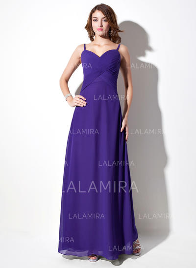 Empire Chiffon Bridesmaid Dresses Ruffle V-neck Sleeveless Floor-Length (007001784)