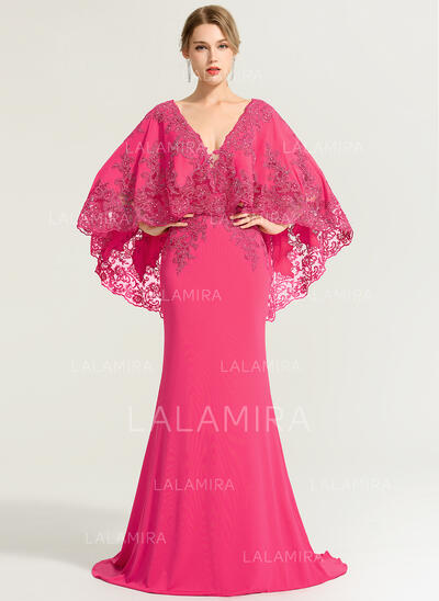 Trumpet/Mermaid V-neck Sweep Train Jersey Evening Dress With Beading (017167710)