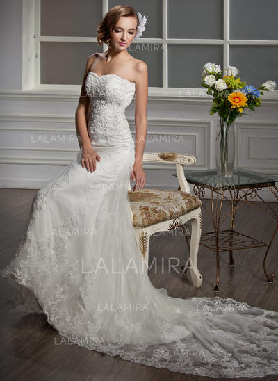 Luxurious Tulle Wedding Dresses With Strapless Beading Appliques (002000641)