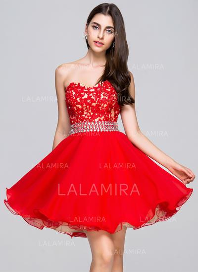 A-Line/Princess Short/Mini Chiffon Lace Sweetheart Homecoming Dresses (022068046)