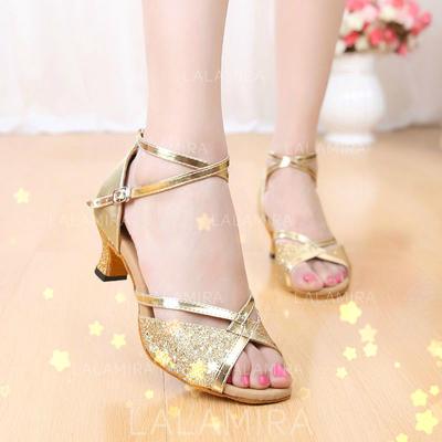 Donna Latino Sandalo Similpelle Glitter scintillanti con Listino alla caviglia Scarpe da ballo (053102993)
