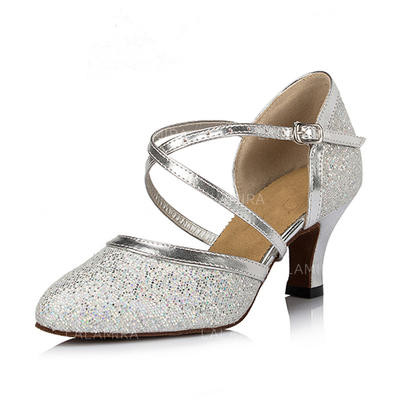Women's Ballroom Heels Pumps Sparkling Glitter Dance Shoes (053179291)