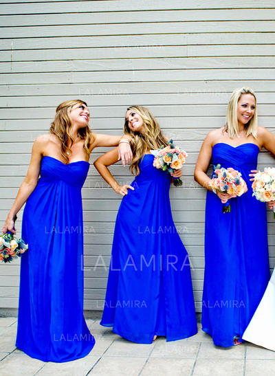 Floor-Length Sweetheart A-Line/Princess Chiffon Bridesmaid Dresses (007211692)