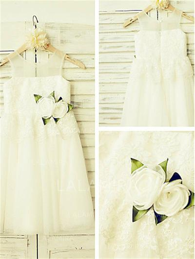 Scoop Neck A-Line/Princess Flower Girl Dresses Tulle/Lace Flower(s) Sleeveless Ankle-length (010212003)