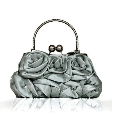 Wristlets Wedding/Ceremony & Party Satin Kiss lock closure Attractive Clutches & Evening Bags (012186097)