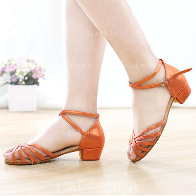Women's Latin Leatherette With Ankle Strap Dance Shoes (053181345)