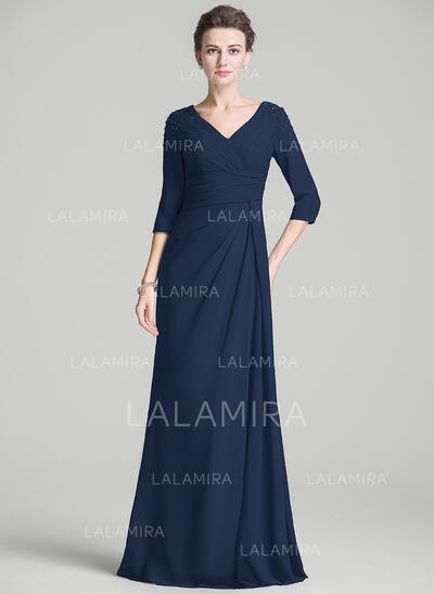 A-Line/Princess V-neck Sweep Train Chiffon Mother of the Bride Dress With Ruffle Beading (008072721)