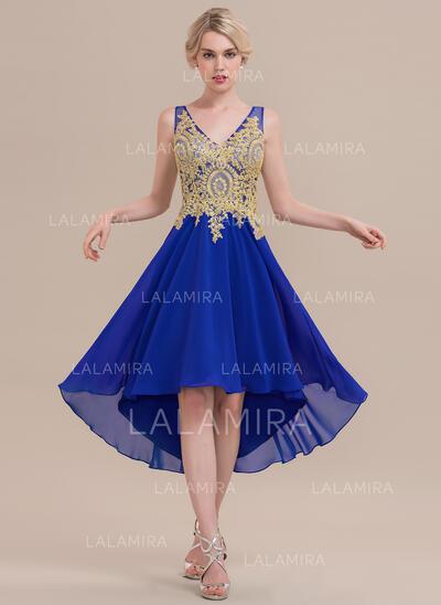 Vestidos princesa/ Formato A Decote V Assimétrico Tecido de seda Vestido de cocktail com Beading (016126102)