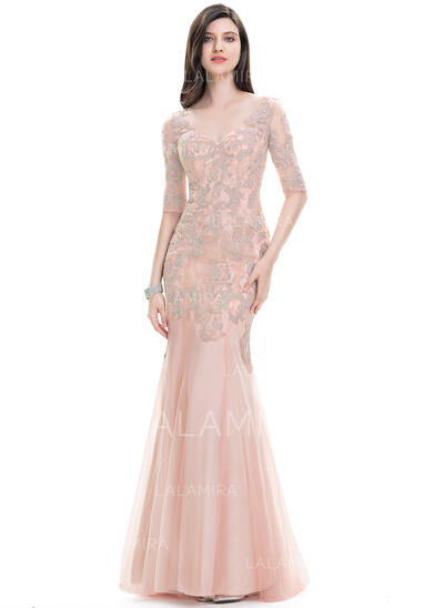 Trumpet/Mermaid V-neck Sweep Train Tulle Evening Dress (017105896)