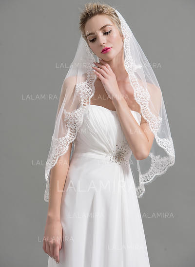 Fingertip Bridal Veils Tulle One-tier Oval With Lace Applique Edge Wedding Veils (006151952)