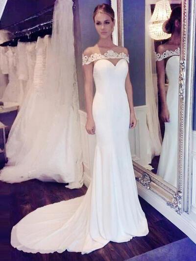 Glamorous Lace Trumpet/Mermaid With Chiffon Wedding Dresses (002144875)