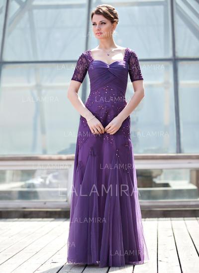 Corte A/Princesa Novio Tul Magnífico Vestidos de madrina (008211447)