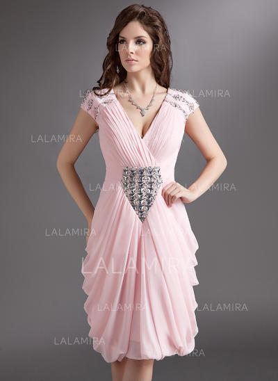 Sheath/Column Magnificent Chiffon General Plus Cocktail Dresses (016016275)
