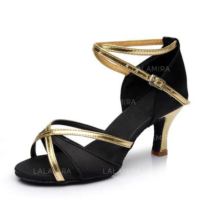 Women's Latin Heels Sandals Satin With Buckle Hollow-out Dance Shoes (053181881)
