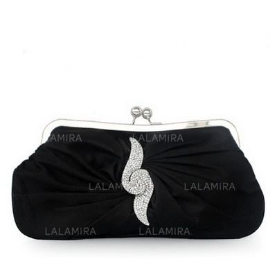 Clutches Wedding/Ceremony & Party Silk Kiss lock closure Elegant Clutches & Evening Bags (012184716)