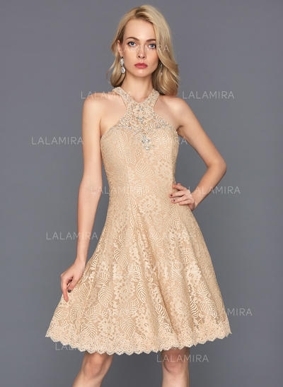 Lace Regular Straps A-Line/Princess Scoop Neck Homecoming Dresses (022214145)
