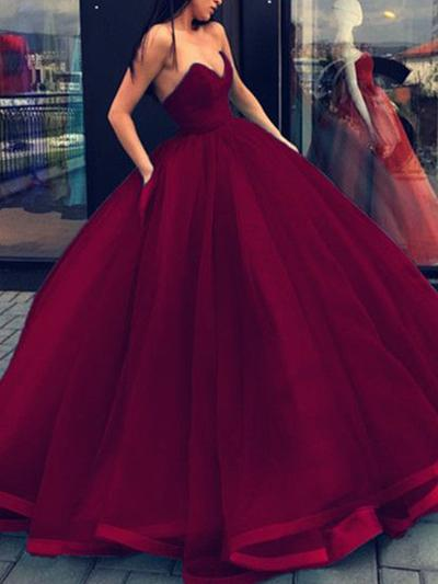 Ball-Gown Sweetheart Floor-Length Evening Dresses (017217817)