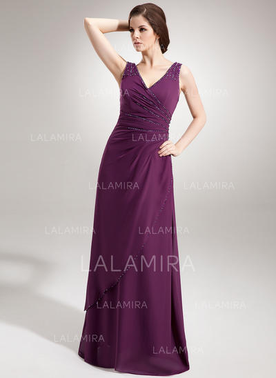 Chiffon V-neck A-Line/Princess Sleeveless Luxurious Evening Dresses (017020666)