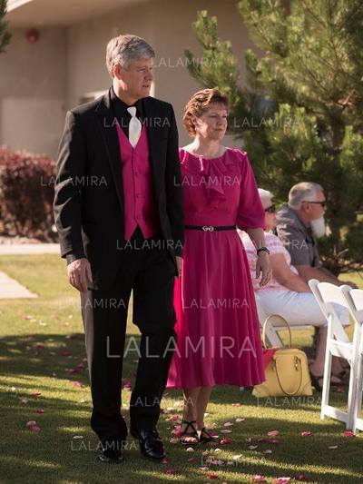 Forme Princesse Col rond Mousseline Flatteur Robes mère de la mariée (008212771)