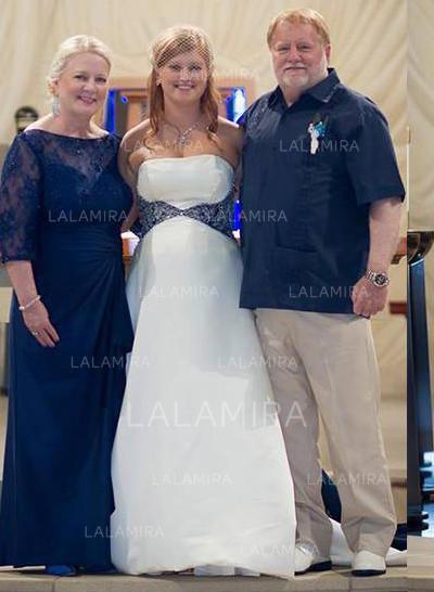 Corte A/Princesa Fuera del hombro Gasa Halagador Vestidos de madrina (008212808)