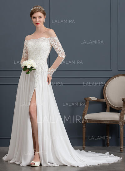 A-Line Off-the-Shoulder Court Train Chiffon Wedding Dress With Beading Sequins Split Front (002171942)