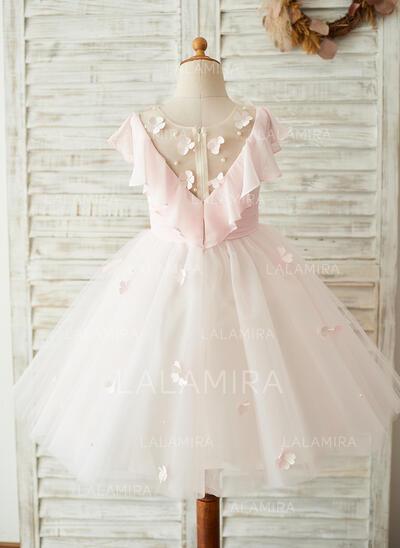 Vestidos princesa/ Formato A Coquetel Vestidos de Menina das Flores - Tecido de seda/Tule/Renda Sem magas Decote redondo com Apliques de Renda (010153241)