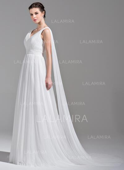Vestidos princesa/ Formato A Decote V Cauda watteau Tule Vestido de noiva com Pregueado (002071606)