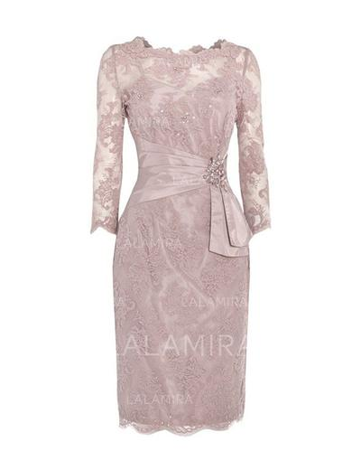 Sheath/Column Lace 3/4 Sleeves Scoop Neck Knee-Length Zipper Up Mother of the Bride Dresses (008146389)