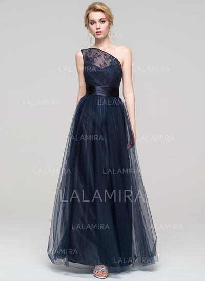 A-Line/Princess One-Shoulder Floor-Length Tulle Prom Dresses With Ruffle (018112679)