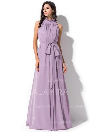 A-Linjainen korkea Neck Lattiaa hipova pituus Sifonki Morsiusneitojen mekko jossa Rusetti Laskeutuva röyhelö (007055196)