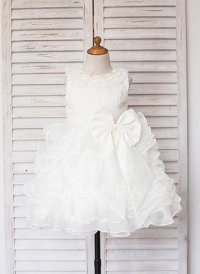 Scoop Neck A-Line/Princess Flower Girl Dresses Satin/Tulle Ruffles/Lace/Beading Sleeveless Knee-length (010211601)