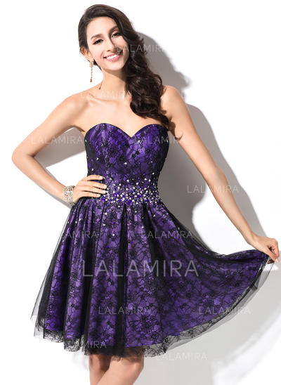 Newest Taffeta Lace Sleeveless Sweetheart Beading Sequins Homecoming Dresses (022214022)