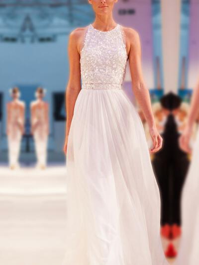 Sem Mangas Em U com Tecido de seda Vestidos de noiva (002218043)