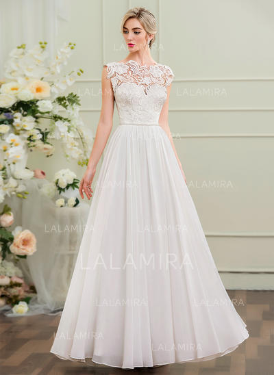 Chiffon A-Line/Princess With Newest General Plus Wedding Dresses (002107547)