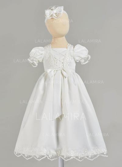Satiné Encolure carrée Dentelle Robes de baptême bébé fille avec Manches courtes (2001216835)