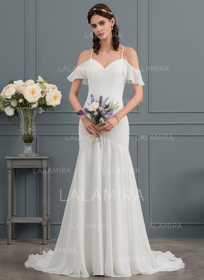 Trumpet/Mermaid Sweetheart Court Train Chiffon Wedding Dress (002145306)