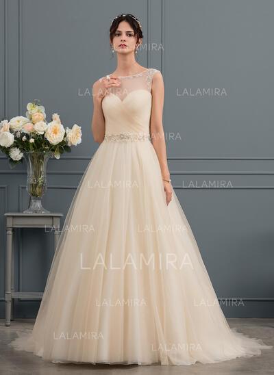 De Baile/Princesa Ilusão Cauda de sereia Tule Vestido de noiva com Beading (002153427)