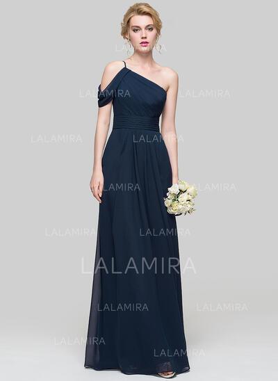 Corte A Um ombro Longos Tecido de seda Vestido de baile com Pregueado (018112678)