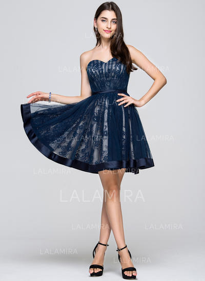 A-Line/Princess Short/Mini Tulle Lace Sweetheart Homecoming Dresses (022068029)