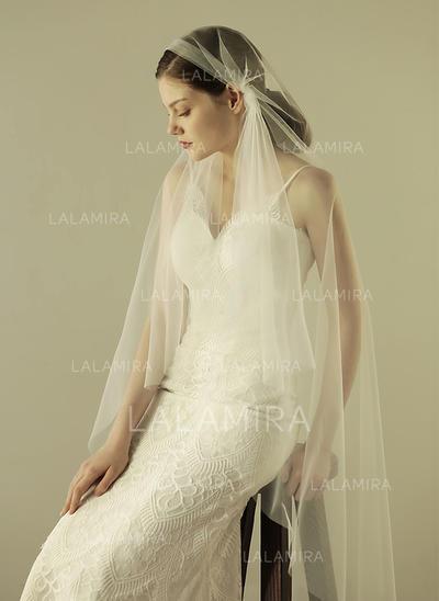 Velos de novia vals Tul con Corte de borde 62.99 pulgada (160cm) Blanco Velos de novia (006132068)