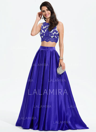 De Baile/Princess Decote redondo Sweep/Brush trem Cetim Vestido de baile com Renda lantejoulas (018175921)