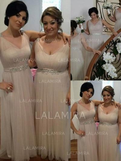 V-neck General Plus A-Line/Princess Tulle Sleeveless Bridesmaid Dresses (007144997)