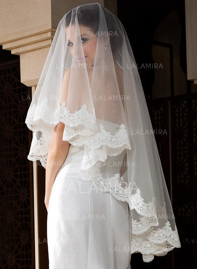Waltz Bridal Veils Tulle One-tier Oval With Lace Applique Edge Wedding Veils (006151516)