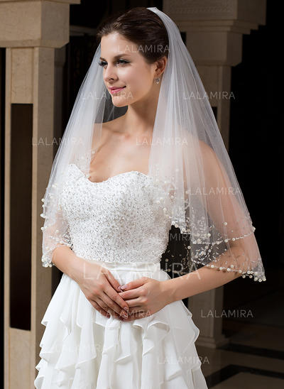 Elbow Bridal Veils Tulle Two-tier Classic With Beaded Edge Wedding Veils (006151416)