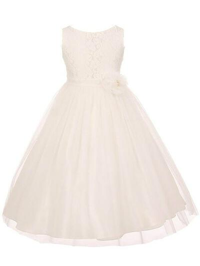 Scoop Neck A-Line/Princess Flower Girl Dresses Tulle/Lace Sash Sleeveless Ankle-length (010211870)