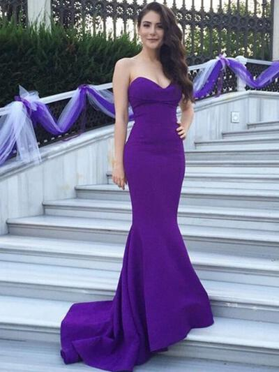 Trumpet/Mermaid Sleeveless Sweetheart Satin Bridesmaid Dresses (007144975)