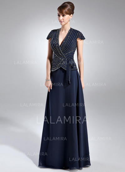 A-Line/Princess Chiffon Short Sleeves V-neck Floor-Length Zipper Up at Side Mother of the Bride Dresses (008005936)