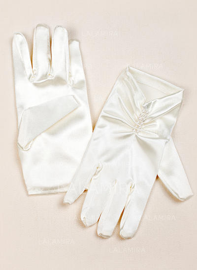 Elastic Satin Children's Gloves Wrist Length Flower Girl Gloves Fingertips Gloves (014192016)