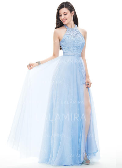A-Line/Princess Halter Floor-Length Tulle Prom Dresses With Beading Sequins Split Front (018105687)